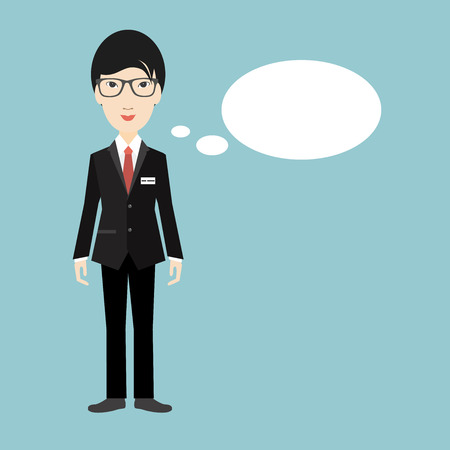 asian business: Asian business man speaking. Flat illustration. Illustration