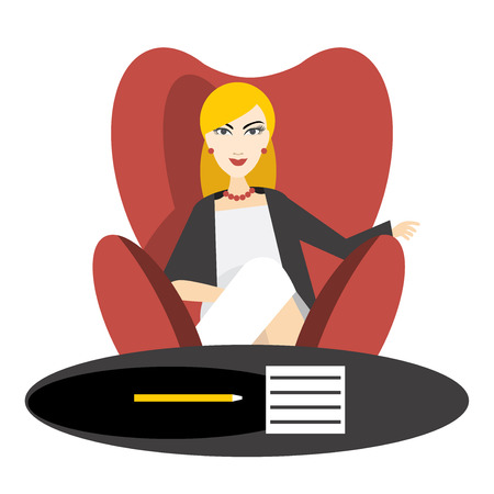 counter top: Director. Young business woman in work. Flat vector.