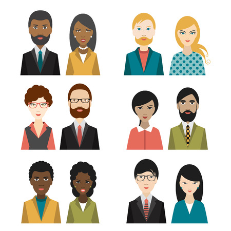Set of cultural character heads. Flat illustration.