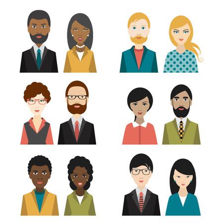 Set of cultural character heads. Flat illustration. Stok Fotoğraf - 40272484