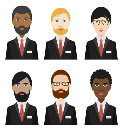 african businessman: Various ethnicity business men. Flat illustration. Illustration