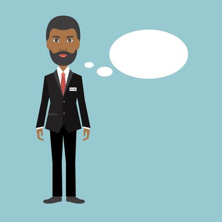black business man: African black business man speaking. Flat illustration. Illustration