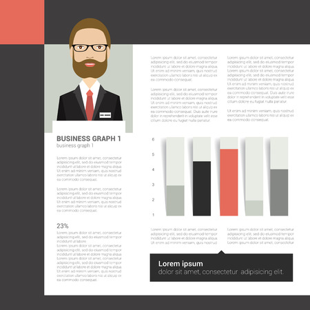 Booklet page. Magazine layout for infographics. Web template. Vector