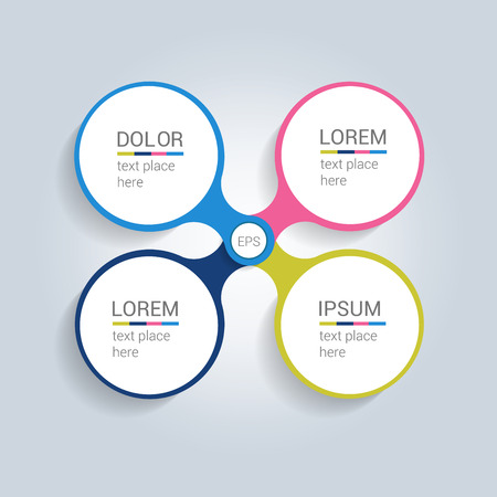data centers: Round center template. Simply color scheme diagram. Illustration