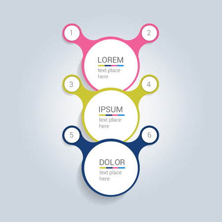 data centers: Round shape step by step template. Simply color scheme diagram.