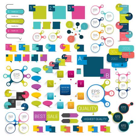 speech: Big flat infographics set design elements schems charts buttons. Vector illustration. Illustration