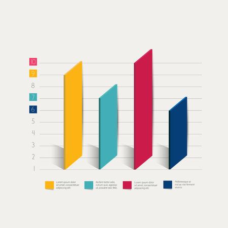 statistical: 3D bar chart graph. Infographic element.