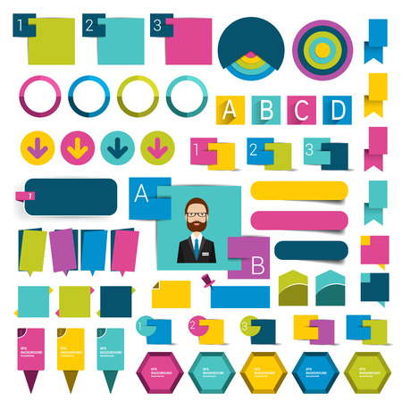 caption: Big flat infographics set design elements schems charts buttons. Vector illustration. Illustration