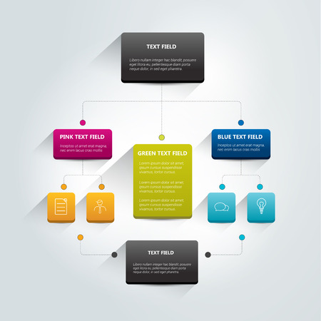 szerkezet: Infographics folyamatábra. Színes árnyékok rendszer. Illusztráció