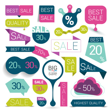 Big set of colorful sale stickers bubbles ribbons. Vector illustration. Vettoriali