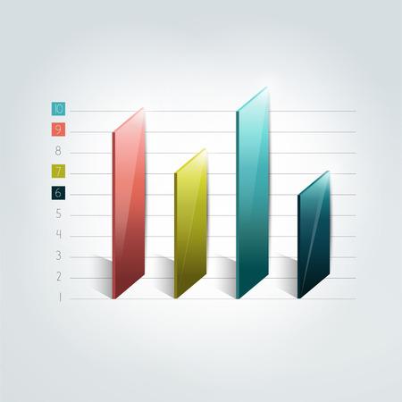 grafica de barras: Diagrama de barras 3D. Elemento de Infografía. Vectores