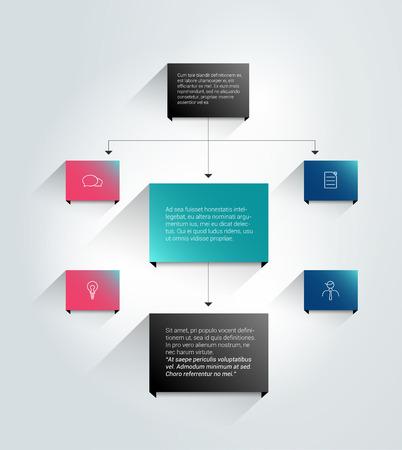 flowchart: Infographics flowchart. Colored shadows scheme.