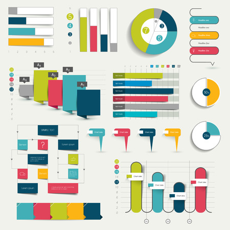 Set of business flat design 3D graphs charts. Infographics.