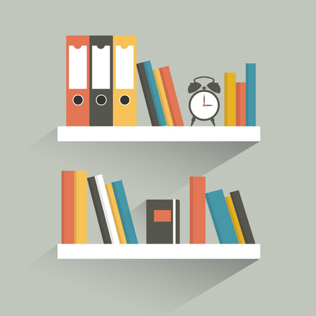 the shelf: Book shelf. Flat design. Illustration