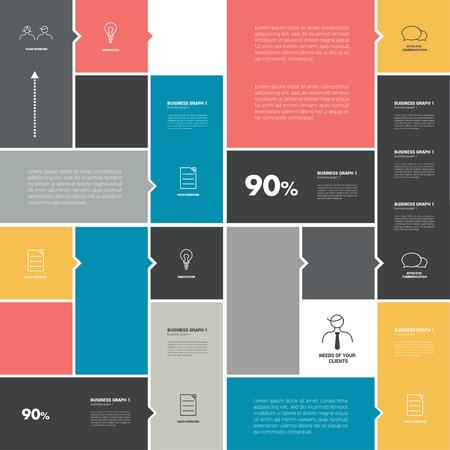 cronogramas: horario bandera color ficha. Infografía diseño minimalista.