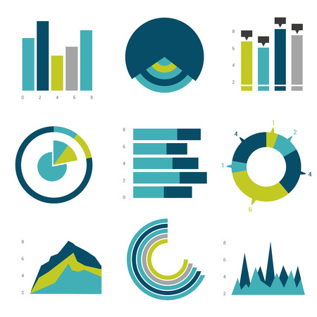 graph trend: Big flat set of infographics elements. Chart graph diagram scheme flowchart bubble included.
