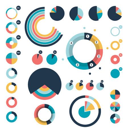Set of round circle charts graphs.