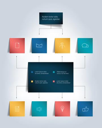 Infographics flowchart. Colored shadows scheme.