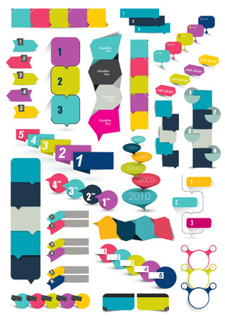 Big set of templates numbered banners. Infographics box charts.