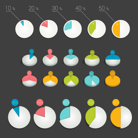 pie chart icon: Circle pie charts graphs. Illustration