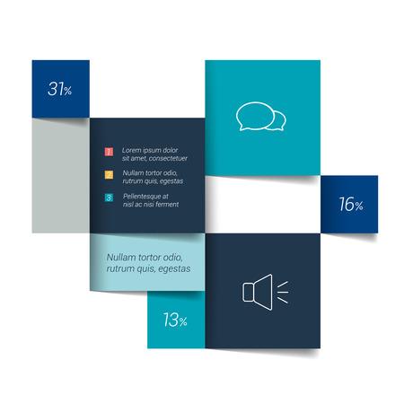 modules: Blue banner schedule tab. Minimalistic vector design infographic. Illustration