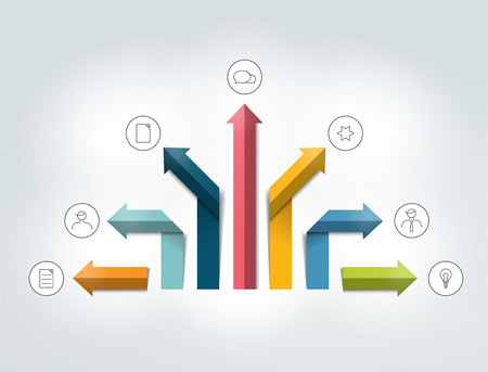 data centers: Arrow infographics flowchart. Vector.