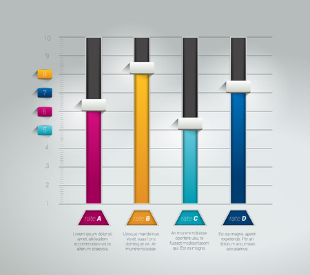 bar charts: Gráfico de la carta 3D. Infografía elemento folleto plana. Vector. Vectores