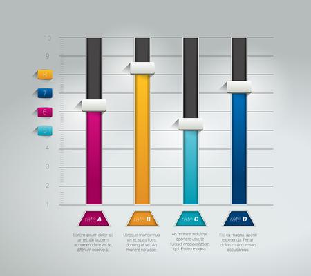 3D chart graph. Infographics flat brochure element. Vector. Illustration
