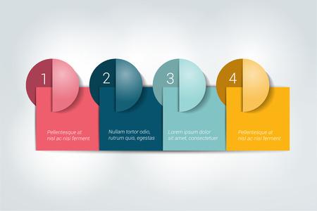 Vier stappen template. Genummerde grafiek. Infographic element.