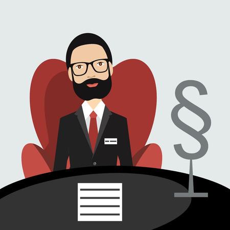 advocate: El abogado defensor de la Edad Media que se sienta en silla roja en la su oficina. Vector plana. Vectores