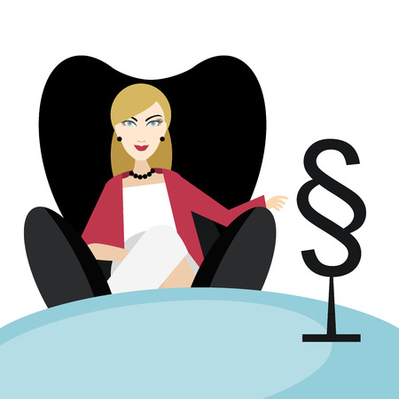 advocate: Woman advocate lawyer sitting in black chair in the his office. Flat vector.