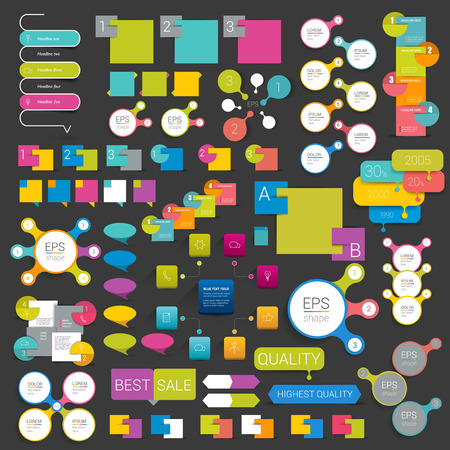 Set of infographics elements flat web design. Schemes boxes speech bubbles buttons. Vector illustration.