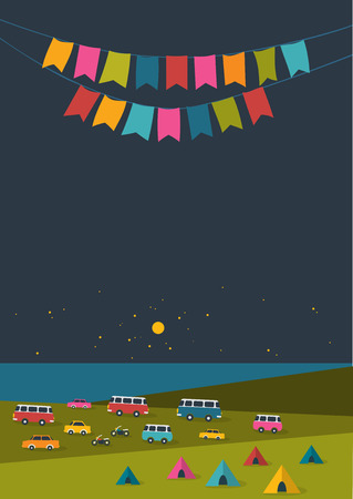 festival vector: Summer night festival party music poster background with color flags and retro cars vans and buses tent field. Flat design. Illustration
