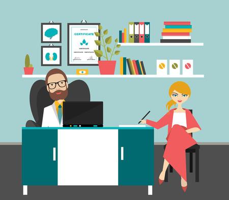 enfermera con paciente: M�dico y el paciente en la cirug�a de la oficina. Ilustraci�n vectorial Flat.