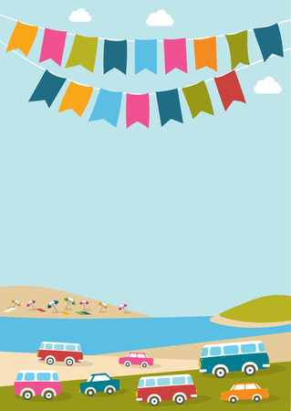 fun background: Summer music festival party poster with color flags and retro cars vans buses. Flat design.