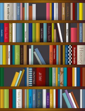 wooden shelf: Book shelf. Vector illustration. Bookstore indoor.