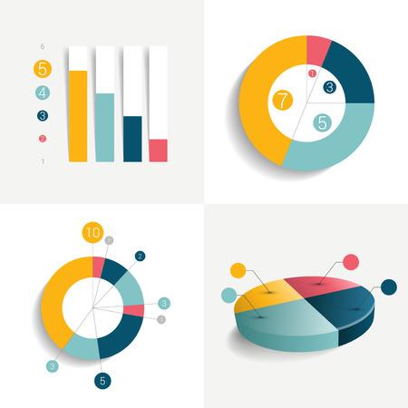 평면 비즈니스 디자인 요소의 집합 차트 그래프 차트 흐름. 정보 그래픽. 일러스트