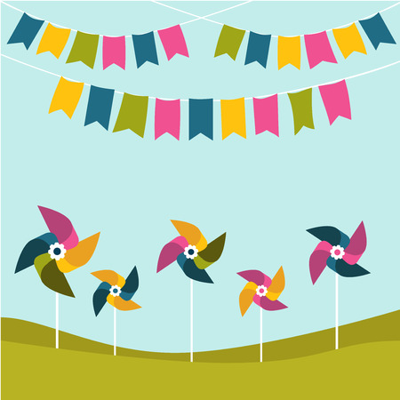 pinwheels: Festival birthday party poster with color pinwheels on green grass. Flat design. Illustration