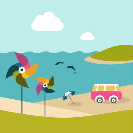 nature vector: Summer beach island with dolphins van umbrella and color pinwheels. Flat design.