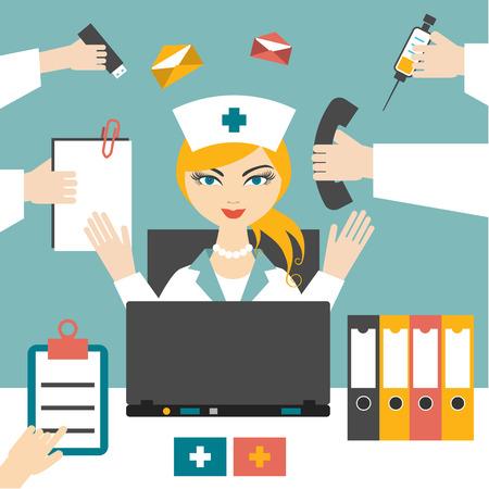 medico caricatura: Enfermera Mujer polivalente trabajando duro. Mujer médico ocupado. Diseño plano.
