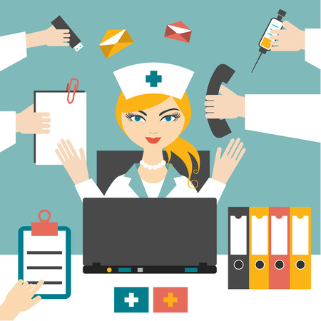 cartoon nurse: Multitasking woman nurse working hard. Busy medical woman. Flat design.