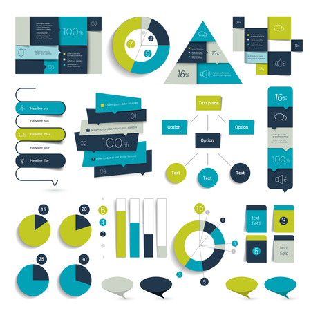 bn: Collection of infographics elements. Colorful set template.