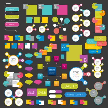 Set of infographics elements flat web design. Schemes boxes speech bubbles buttons. Vector illustration.
