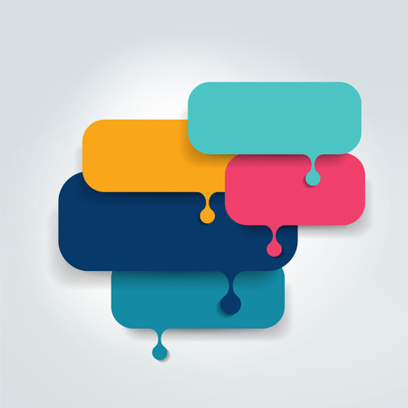 Speech bubble template scheme. Infographic element. Vettoriali