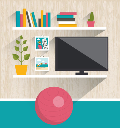 wooden shelf: Living room interior. Tv and book shelves. Flat design vector illustration.