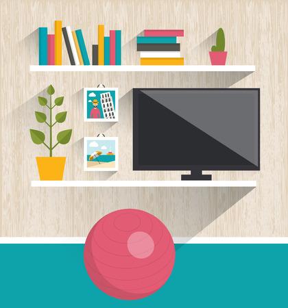 gym room: Living room interior. Tv y reservar estantes. Ilustraci�n vectorial Dise�o plano.