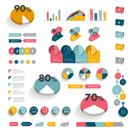 graphs and charts: Collection of infographics elements. Colorful set template.