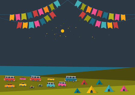 Summer night festival, party music poster background with color flags and retro cars, vans, buses and tent field. Flat design.