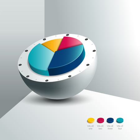 cross section: Cross section of silver sphere ball with 3D pie chart circle in the middle. Option template. Infographic. Illustration