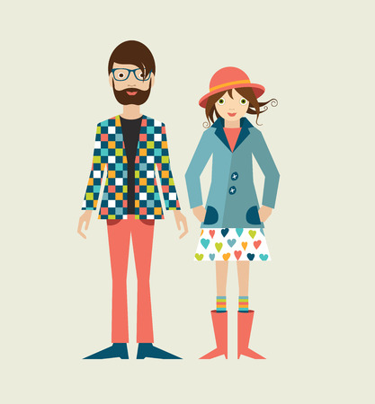 a pair of: Young hipster couple. Flat illustration.